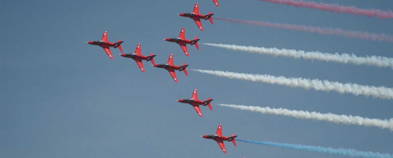 The Red Arrows based at RAF Scampton