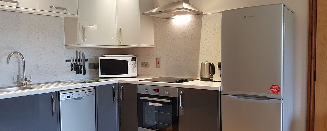 Cottage accommodation in Boston features a fully featured modern kitchen in Holly Cottage